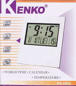 VERY LARGE DIGITAL CLOCK, DESK OR WALL MOUNTED, TEMPERATURE, CALANDER, ALARM
