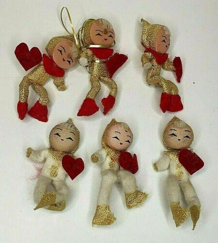 "Vintage (6) Valentine Blond Pixie Elves w/Red Felt Hearts 3"" Tall"
