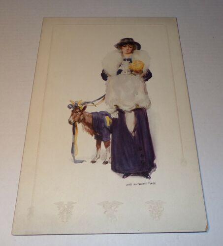 1913 Antique USNA James Montgomery Flagg Art US Navey Buxom Girl & Goat Mascot