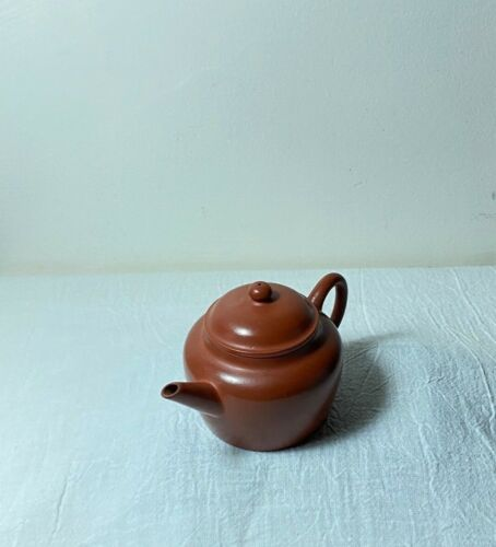 ANTIQUE CHINESE QING POTTERY CERAMIC TEAPOT YIXING CLAY COATED CALLIGRAPHY 逸公