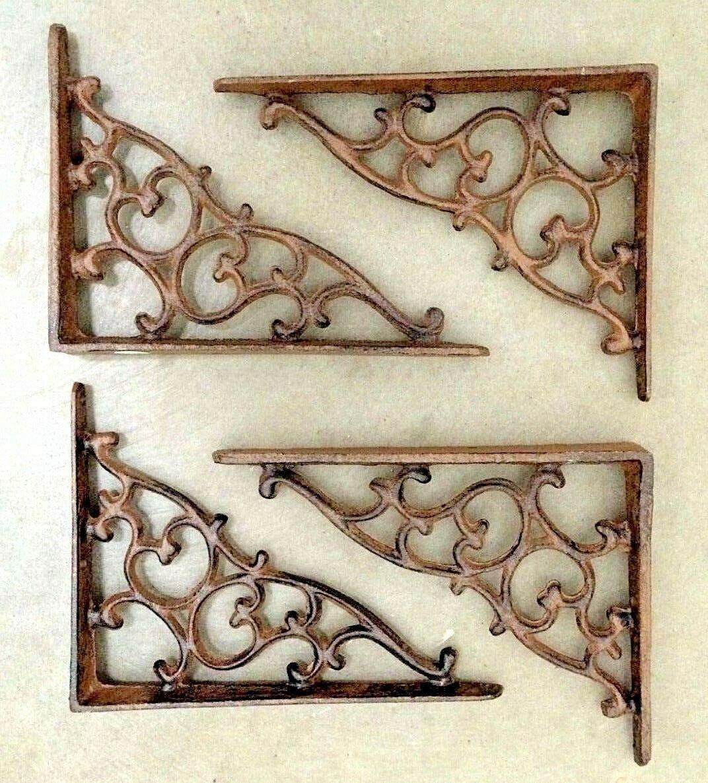 Купить Unbranded - SET OF 4 ORNAMENTAL SHELF BRACKET BRACE Vintage Rustic Antique Brown Cast Iron