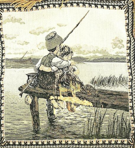 Vintage Tapestry Pillow Cover Fishing Father Daughter On Pier