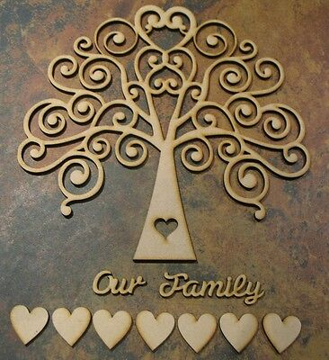 Wooden MDF Tree Shape, Wedding, Family Guestbook 4mm