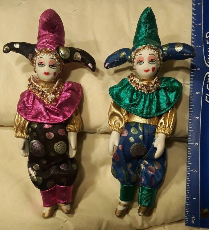 Pair of VINTAGE Porcelain Head/Hands HARLEQUIN JESTER Dolls