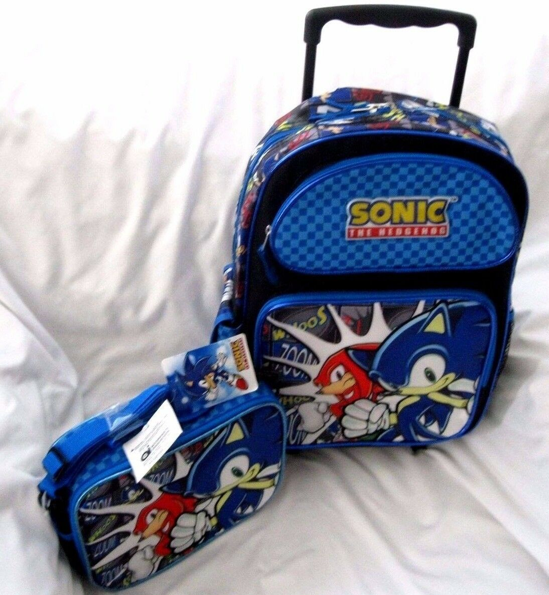 Sonic The Hedgehog Whoos Zoom 16 Rolling Backpack Sonic Friends Lunchbox Set 88308362341 Ebay