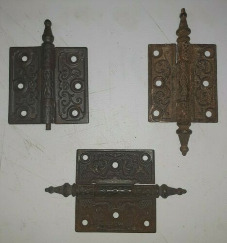 "3 VICTORIAN Hinges --Steeple Tip-- 3"" x 2 1/2"" Salvaged -- 1 Damaged (lot #8)"