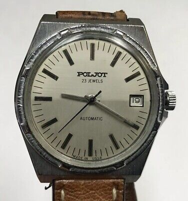 POLJOT 23 JEWELS AUTOMATIC STAINLESS STEEL WRIST WATCH RIOS1931 LEATHER BAND MEN