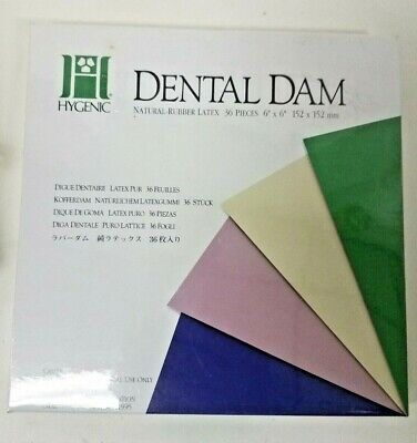 Hygenic 6x6 Dental Dam Natural Rubber Latex Green Thin Fine 36perpack -expired