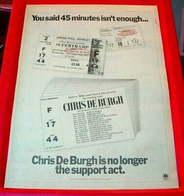 Chris De Burgh UK Tour Vintage ORIGINAL 1978 Press/Magazine ADVERT Poster-Size