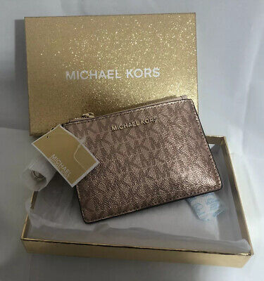 BNIB Michael Kors Boxed Metallic Signature Coin Purse  Zip Wristlet Rose  Gold
