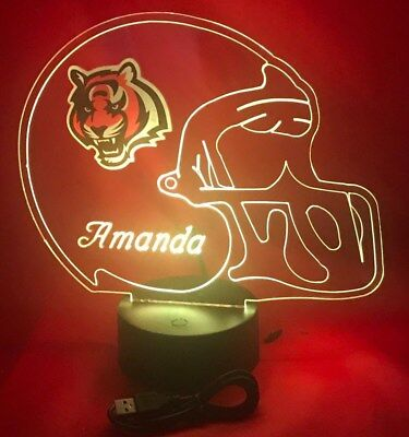 Cincinnati Bengals Nfl Light (Cincinnati Bengals NFL Football Light Up Light Lamp LED With Remote Personalized )