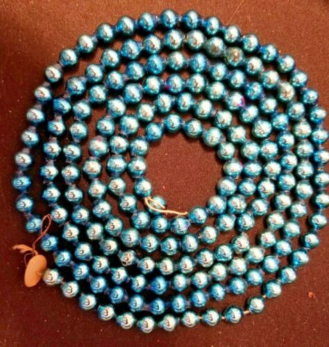 "VINTAGE BLUE MERCURY GLASS BEADS CHRISTMAS TREE GARLAND - 62"" LONG 1/4"" ACROSS"