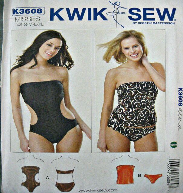 Kwik Sew Sewing Pattern 3608 Strapless Swimsuit Briefs Leotard Dance Costume