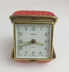 Vintage Bradley Travel Wind Up Portable Alarm Clock Red Alligator Germany 3
