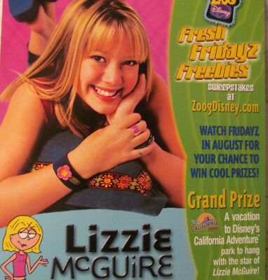 Rare*Original*Disney HILARY DUFF LIZZIE McGUIRE Large Promo Postcard from 2001!!
