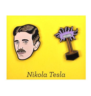 Nikola Tesla & Coil Twin Pin Set - Badge / Pin / Lapel Pin