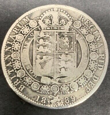 "Antique Queen Victoria British Silver "" Jubilee Head "" Half Crown"