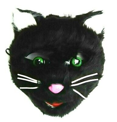 Halloween Black Cat Mask (Black Cat Face Mask Furry Kitty Kitten Halloween Costume Party Cosplay)