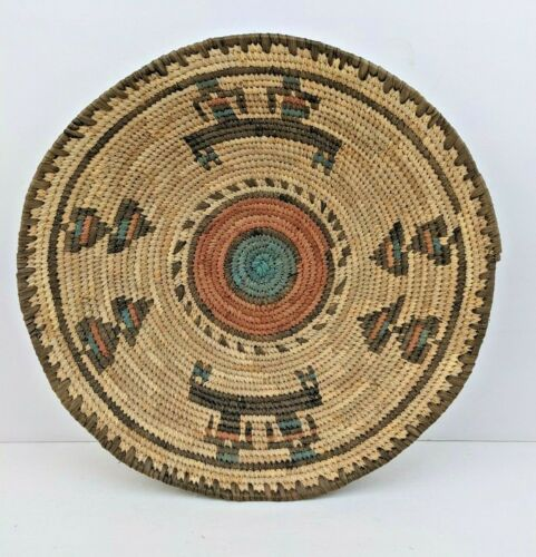 """Vintage Hausa Tribal Basket from Northern Nigeria. Hand Woven Basket / Bowl 12"""""""