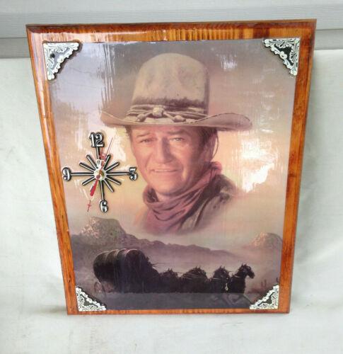 "John Wayne Wood Shellac Wall Clock 18x14"" Battey Op--Free Ship"
