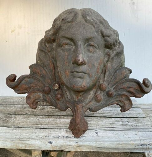 Antique Cast Iron Victorian Lady Head Architectural Salvage From New Orleans