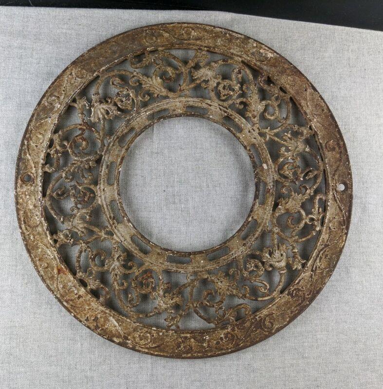 Antique Round Cast Iron Ornate Ceiling Grate Floor Vent Heat Register Cover