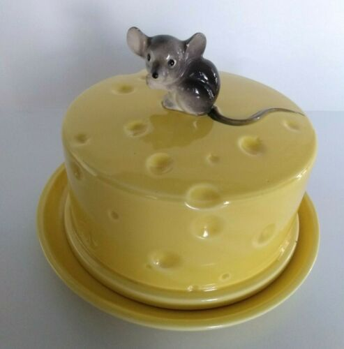 Vintage Lefton Ceramic Cheese Plate Holder Gray Mouse ~ SO CUTE!