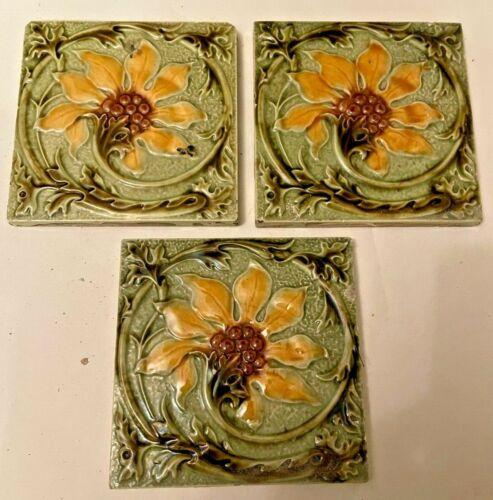 3x Antique Art Nouveau Tiles Floral Design Molded Relief Fireplace Tiled hearth