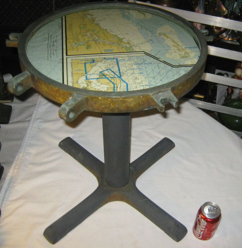 ANTIQUE MARINE MARITIME NAUTICAL SEA SHIP BRASS PORTHOLE WINDOW MAP STAND TABLE