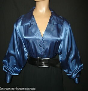 3X-FRENCH-BLUE-Shiny-LIQUID-SATIN-BLOUSE-shirt-top-NEW-PLUS-22W-24W
