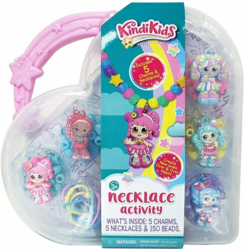 Kindi Kids Necklace Jewelry Activity Set Colorful Bead Charms Plastic Carry Case