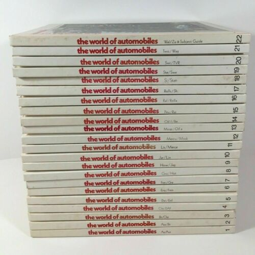 Complete Set - The World of Automobiles An Illustrated Encyclopedia 22 HB Books