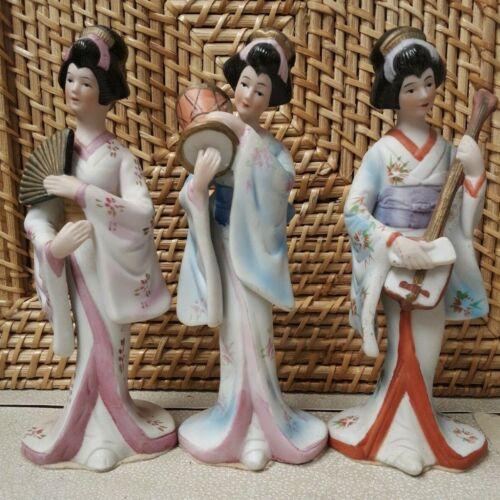 3 Capodimonte Japanese Ceramic Geisha Figurines Korea