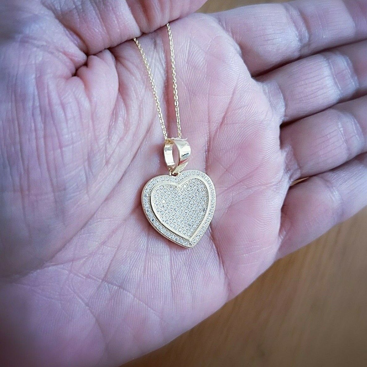 1 Ct Diamond Pendant Womens Necklace Heart Shape in 14K Yellow Gold over Chain 3