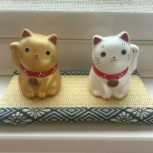 NEW pair Maneki Neko Japanese lucky cat fortune cat becking cat set ornament G S