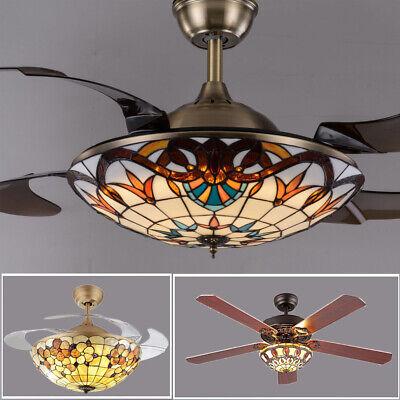 Tiffany LED Remote Ceiling Fan Light Reverse Chandelier Lamp Retractable -