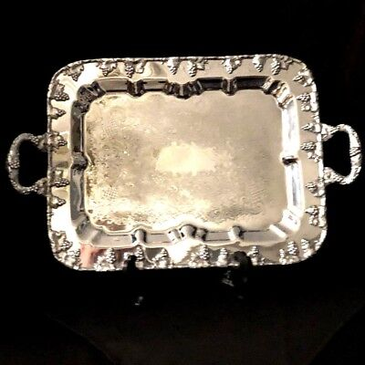 Lehman Brothers Chromium Rococo Style Double Handled Serving Tray, Excellent!