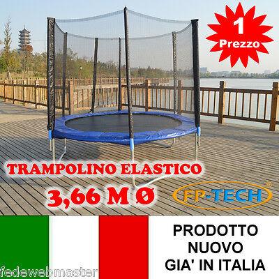 TRAMPOLINO ELASTICO DA GIARDINO 3,66 M Ø 366 TAPPETO ELASTICO ESTERNO SPORT RETE