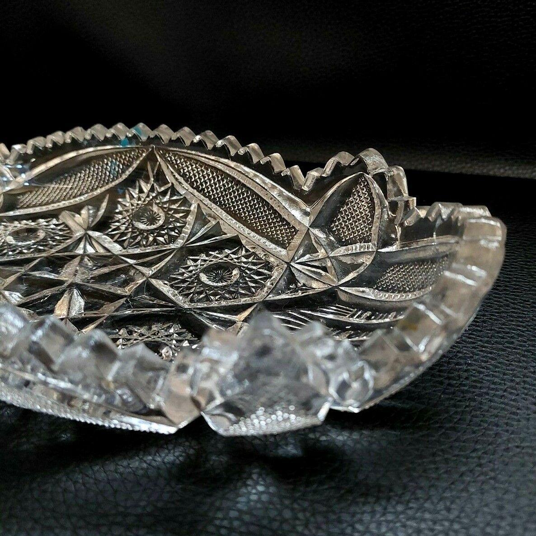 Vintage 50 s Imperial Glass 11 Relish Dish Nucut Pressed IG Logo Sawtooth Edge  - $18.95