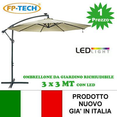 Sombrilla de Jardín 3x3 Descentralizados con Panel Solar y 24 LED GIA...
