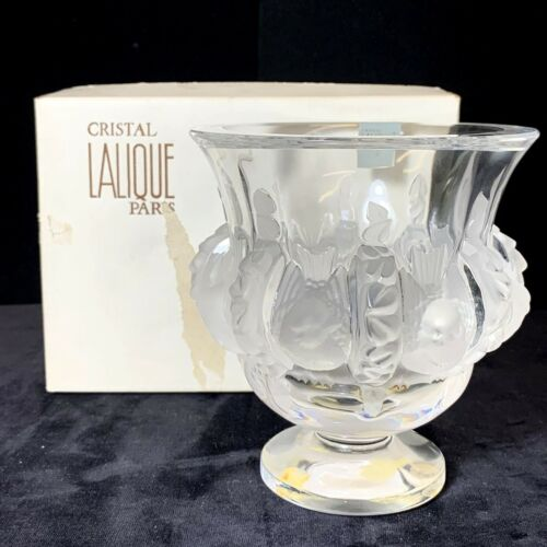 LALIQUE Dampierre Frosted Crystal Sparrow Bird & Vine Art Glass Vase w/ Box
