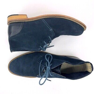 J. Shoes Monarch Mens Chukka Ankle Leather Boots Navy Blue Suede Size 11M EUC