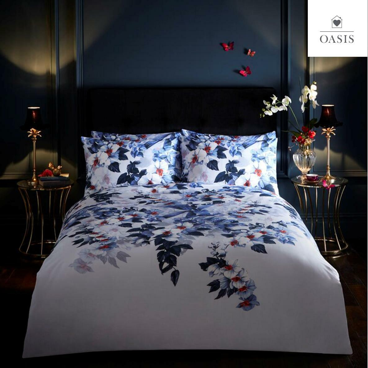 Blue And White Bedding Sets.Details About Oasis Exotic Vibrant Navy Blue White Floral Design Duvet Cover Bedding Sets