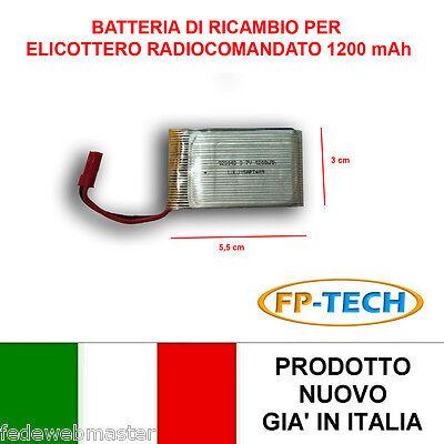BATTERIA LIPO 3,7 V RICAMBIO 1200 MAH ELICOTTERO DRONE RADOCOMANDATO VMAX CRASH