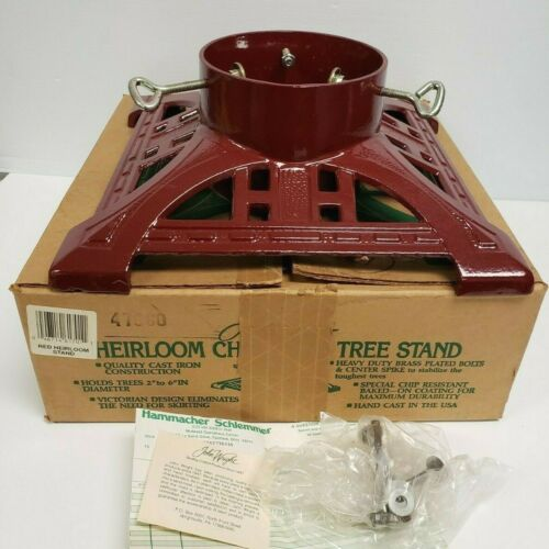John Wright 1991 Red HEIRLOOM Christmas Tree Stand CAST IRON Victorian Style USA