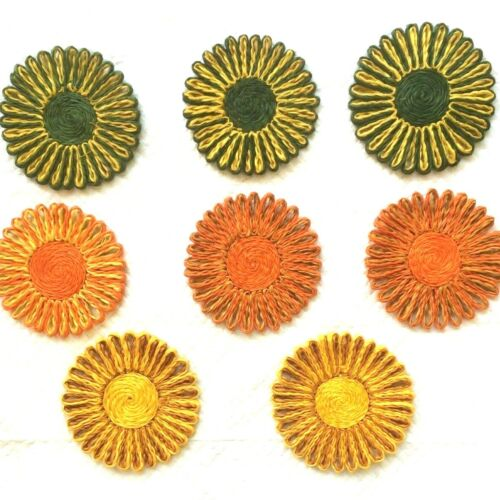 "Set of 8 Vintage Mid-Century Drink Coasters 4.5"" Flower Design 1970s"