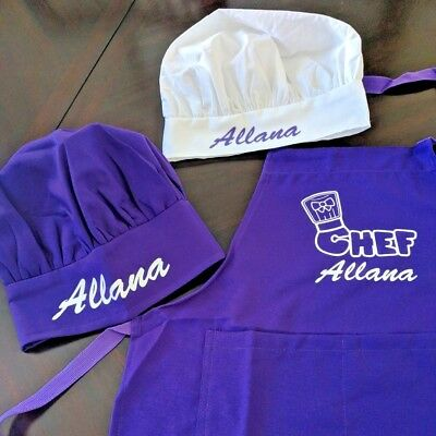 Personalized Kids Chef Apron and Chef Hat Cooking Set | Color Matched Ages 2-13 (Kids Colors)