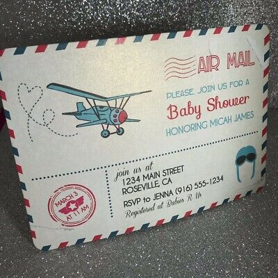 Airplane Baby Shower (20 Airplane Boy Baby Shower Invitation with)