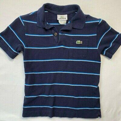 Lacoste Boys 8 Navy Blue Striped Short Sleeve Polo Shirt