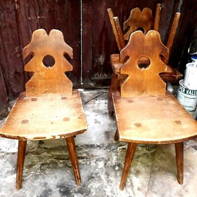 Antique Set of 4 Victorian Handmade (No Nails!) Solid Oak Chairs from Poland